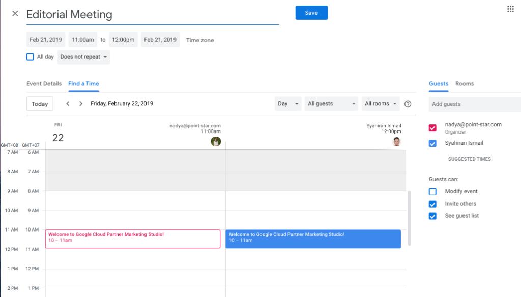 Find time in Google Calendar
