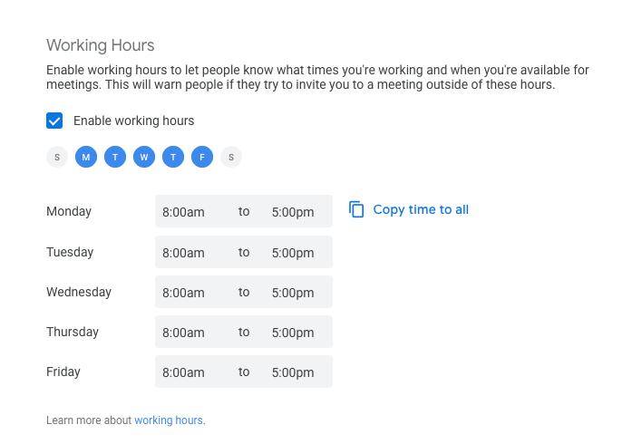 Working Hours in Google Calendar