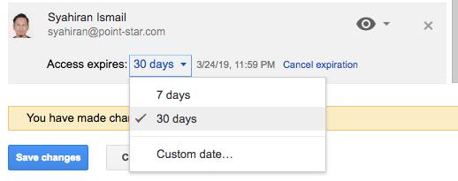 Set expiration date Google